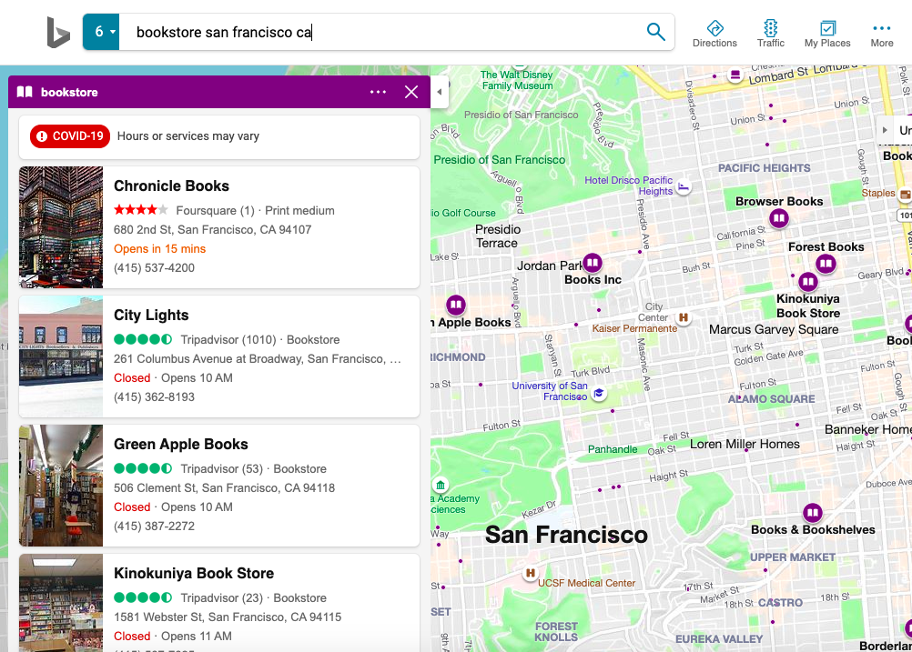 Bing Places listings with Foursquare and TripAdvisor review content
