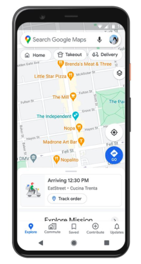 Live delivery information in Maps, courtesy Google