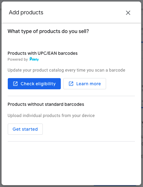 New prompt in GMB Products tab