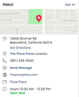 The Pizza Press About Location