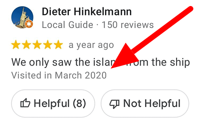 Google reviews showing when the user visited the business