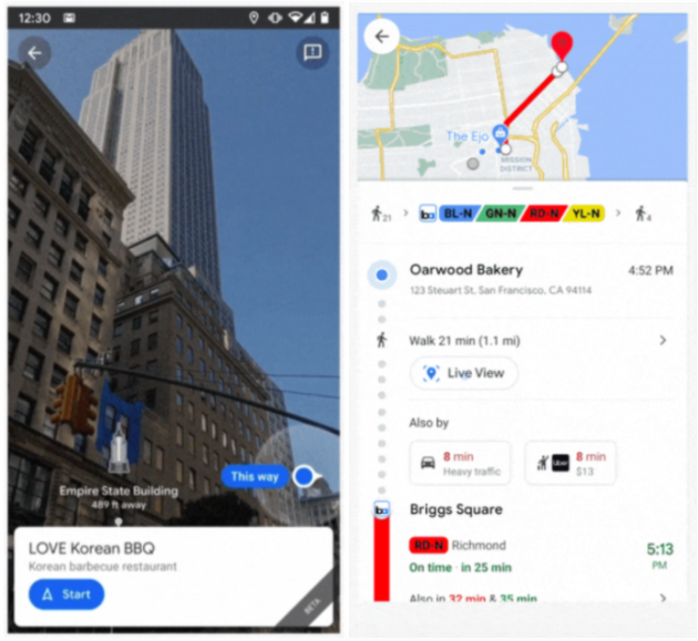 Landmarks in Live View and a Live View prompt in transportation navigation, courtesy 9to5 Google