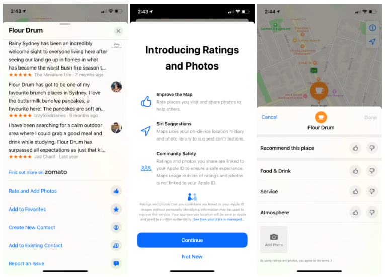Ratings and photos in Apple Maps for Flour Drum, a cafe in Sydney, Australia