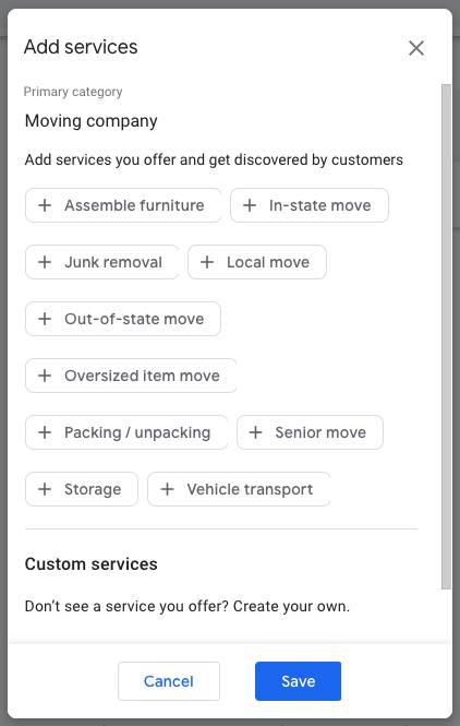 "Service attributes for ""Moving company"" in GMB dashboard"