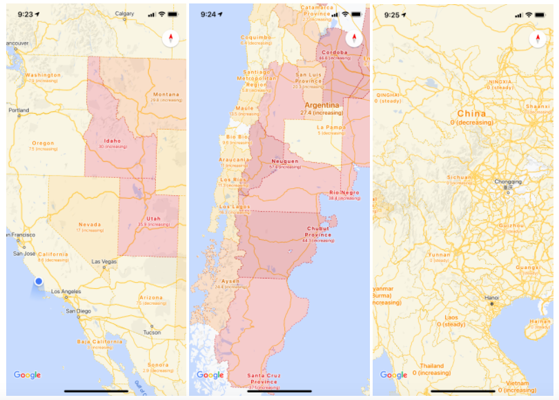 Screenshots from Google Maps showing COVID-19 severity in the U.S., South America, and China