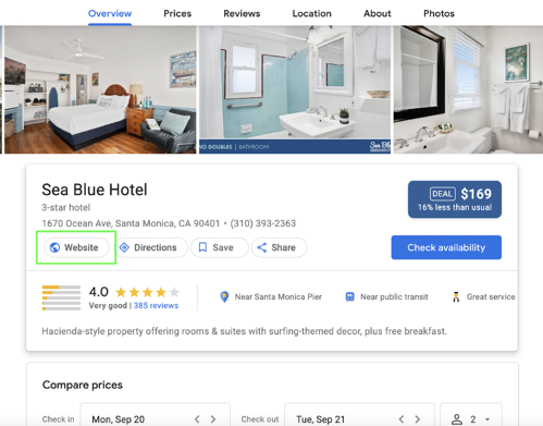 Google hotel profile with website link in its proper location