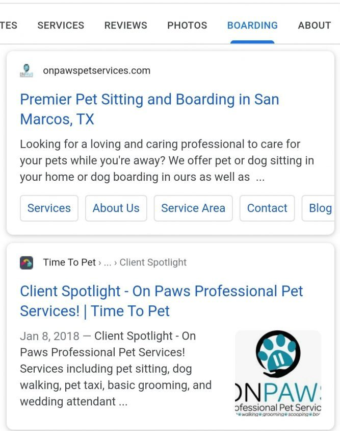 "Dynamic ""Boarding"" tab for pet sitting business, courtesy LocalU"