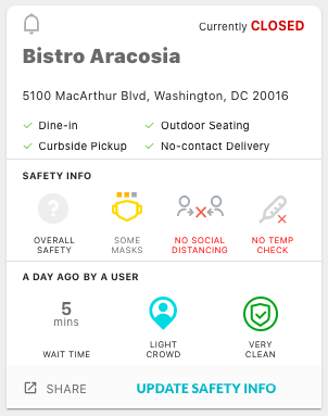 Profile of a restaurant in Washington, D.C. on KickCOVID.us