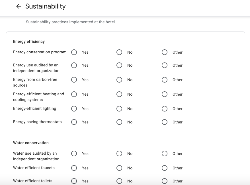 Sample of new Sustainability attributes for hotels in GMB dashboard