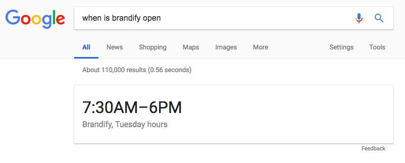 Google displaying Brandify hours