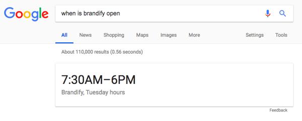 Google displaying Brandify hours