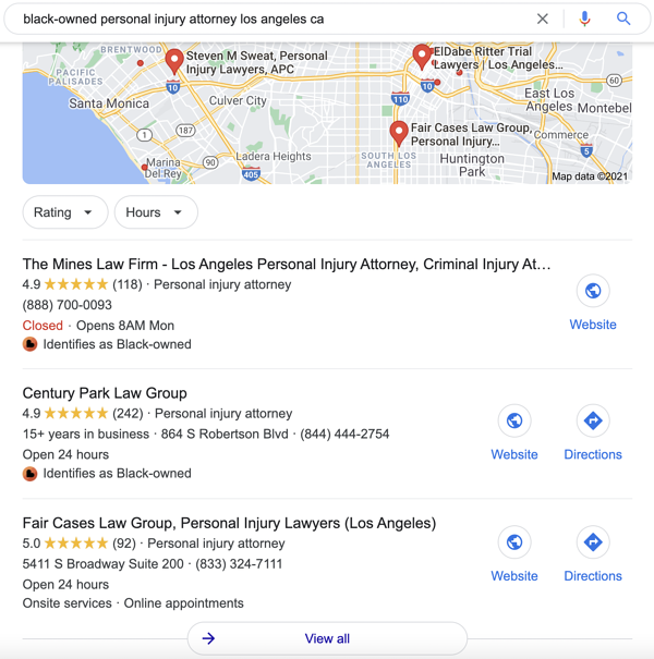 """Search result for """"Black-owned personal injury attorney Los Angeles, CA"""""""