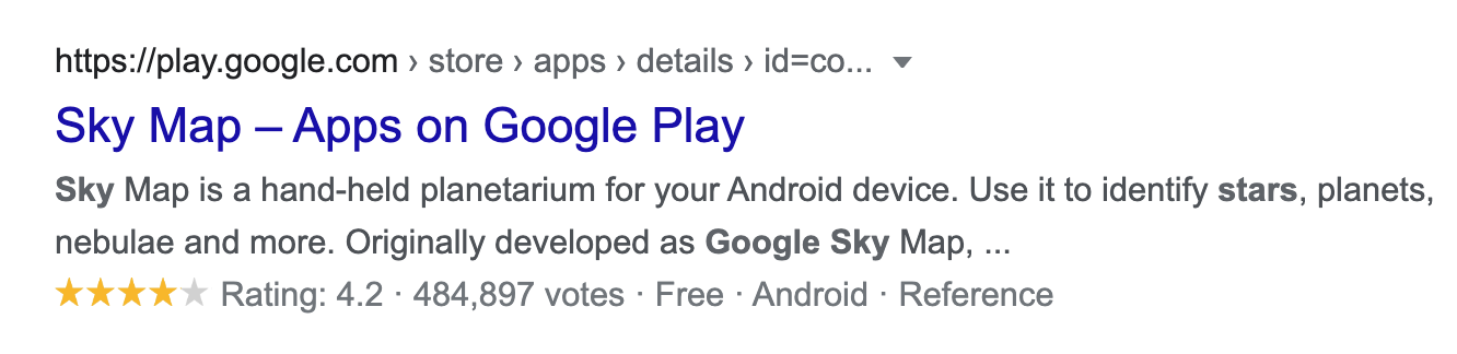 Google Play Store result in SERPs with star rating, courtesy Search Engine Journal